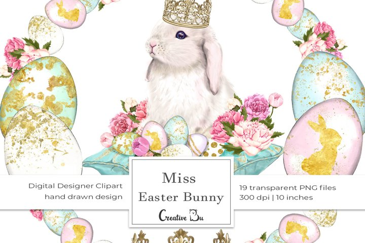 Miss Easter Bunny - Clipart