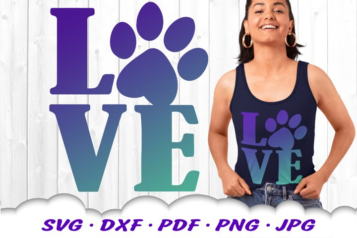 Dog Mom Paw Print Love SVG DXF Cut Files