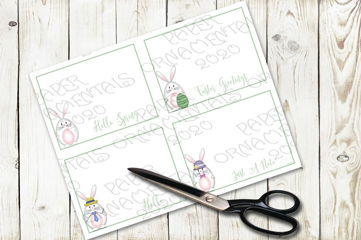 Flat Note Card, Post Card, White Easter Bunny Greetings