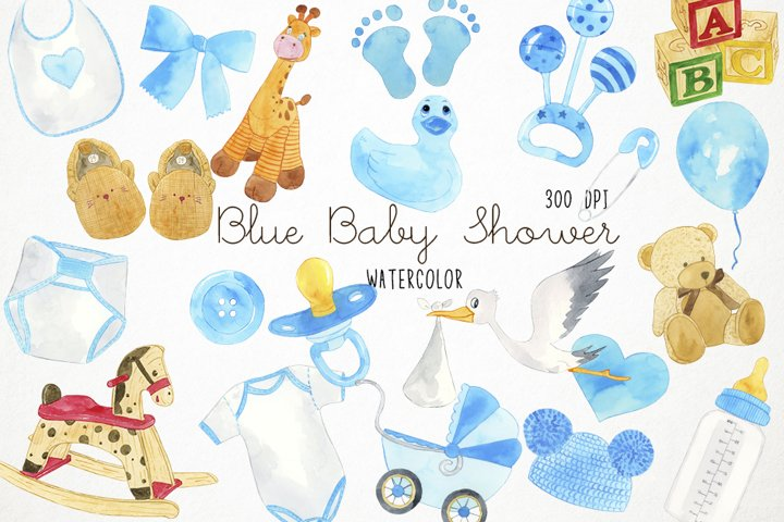 Watercolor Baby Shower Clipart, Baby Blue Clipart