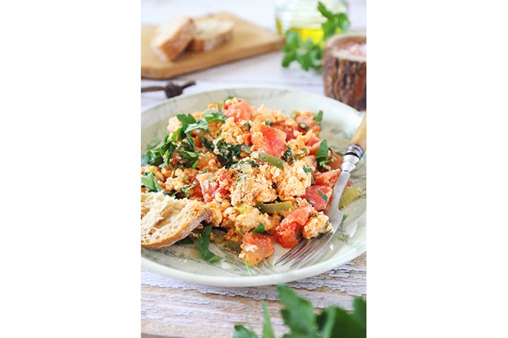Menemen. Turkish scrambled eggs with tomatoes and peppers