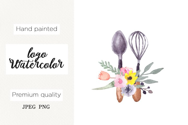 Watercolor logo whisk for bakery, cooking clipart, kitchen