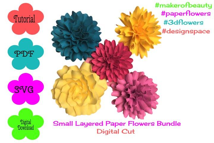 Small Layered Paper Flowers Bundle | Digital Cut