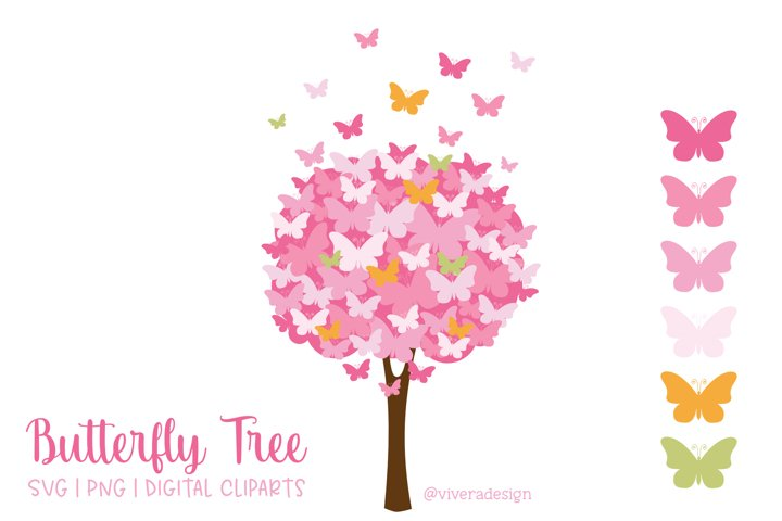 Butterfly Tree PNG SVG in Pink Orange Green