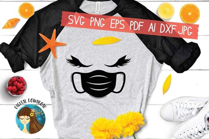 Eyelashes With Facemask Svg