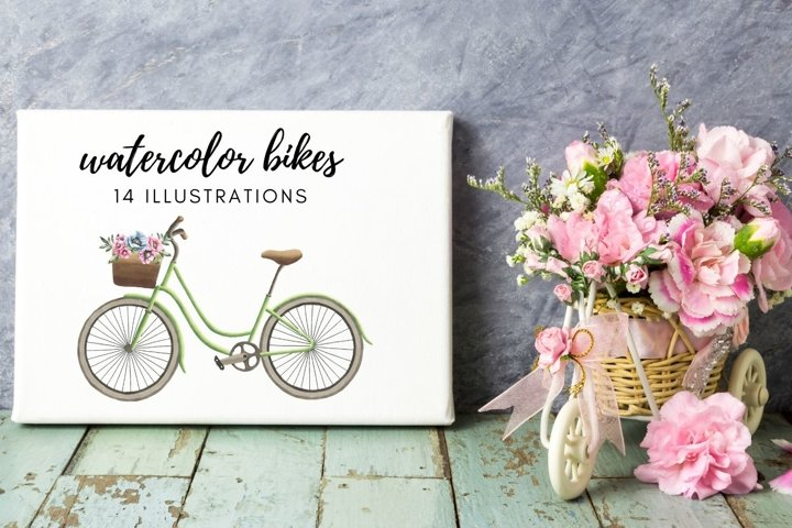 Watercolor Bikes, Rustic Bike with Flowers, Rustic Bikes
