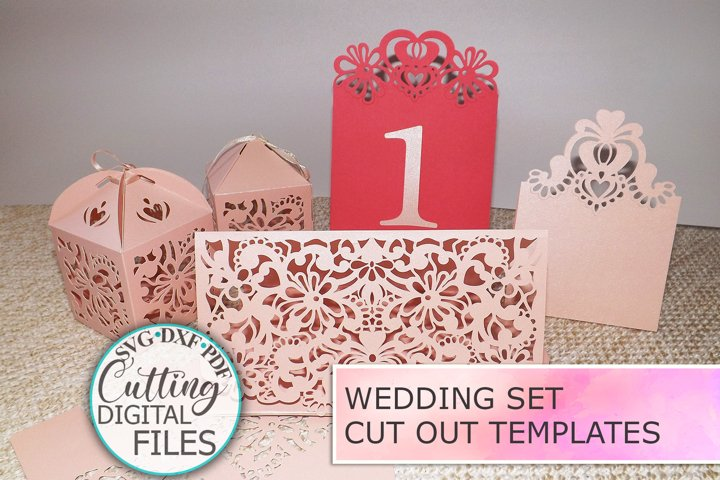 Wedding set Trifold Favor Box Place Card Table Number svg
