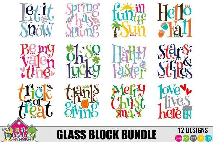 Holidays and Seasons Glass Block Bundle | Square SVG Files
