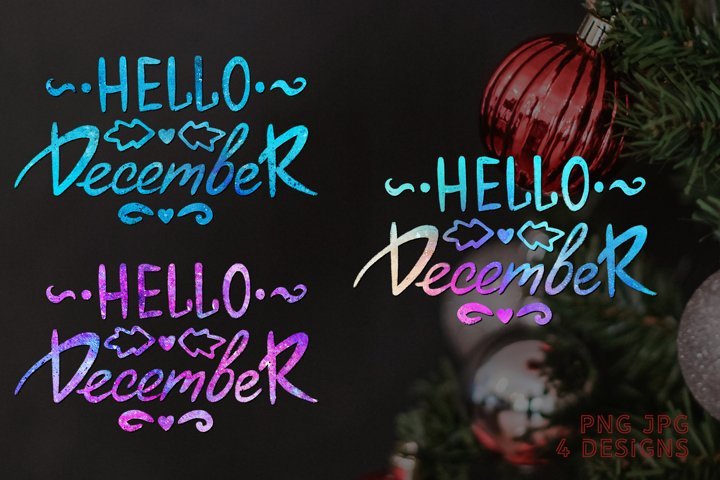 Sublimation Christmas PNG Quote Hello December