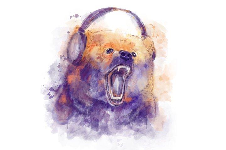 Roaring bear with headphones in watercolor technique