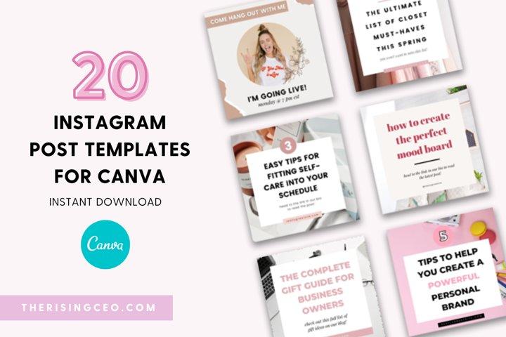 20 Instagram Post Canva Templates For Entrepreneurs