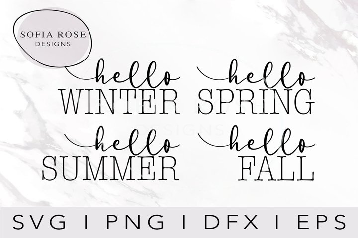 hello SUMMER hello FALL hello WINTER hello SPRING Bundle SVG