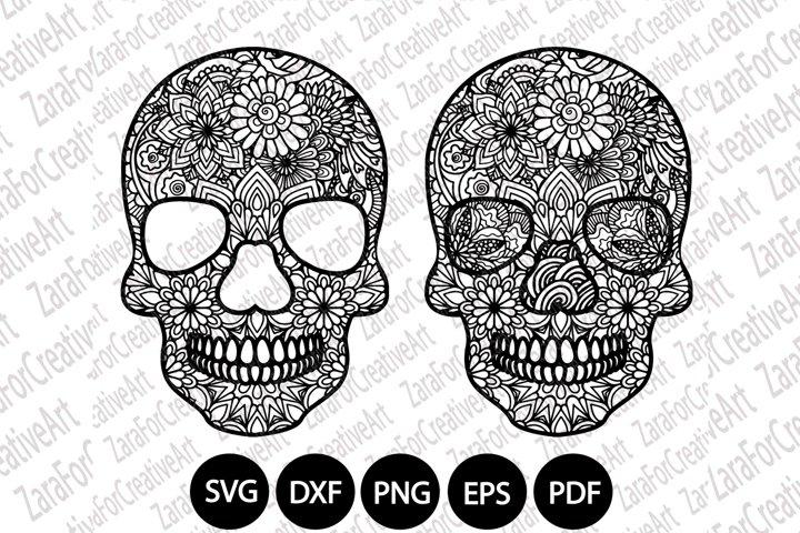 Sugar Skull mandala Zentangle svg