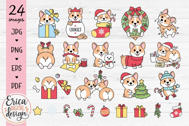 Christmas Corgi Clipart set - 24 cute images - Dog - Bundle