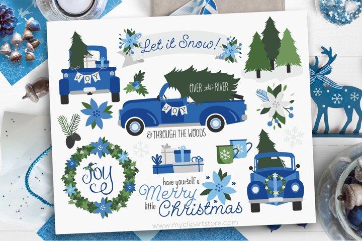 Vintage Navy Christmas Truck Clipart - Vector Clip Art & SVG