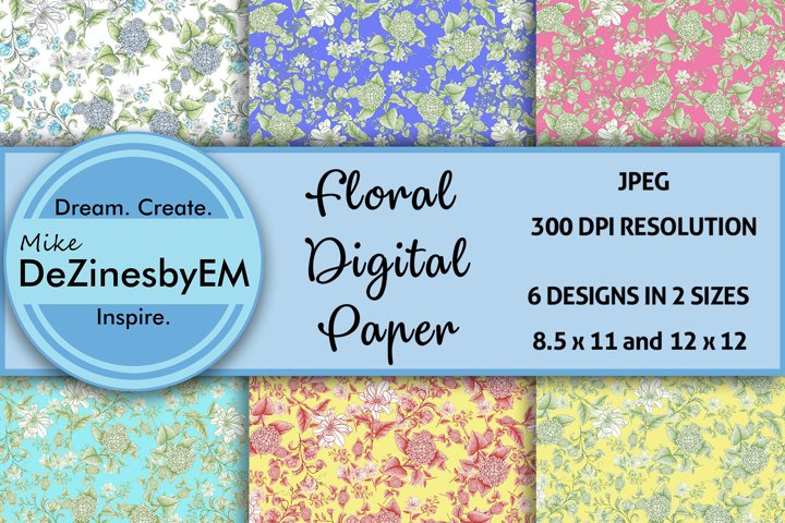 Colorful Floral Digital Paper 8.5x11 & 12x12 included
