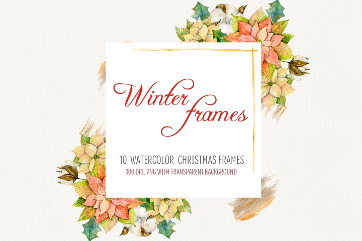 Watercolor Winter frames. Christmas cliparts