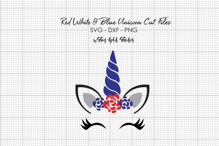Red White and Blue Unicorn Cut Files - SVG - PNG - DXF