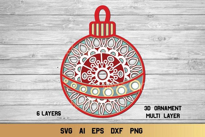 Multi Layer Christmas Ornament SVG | 3D Layered Mandala SVG