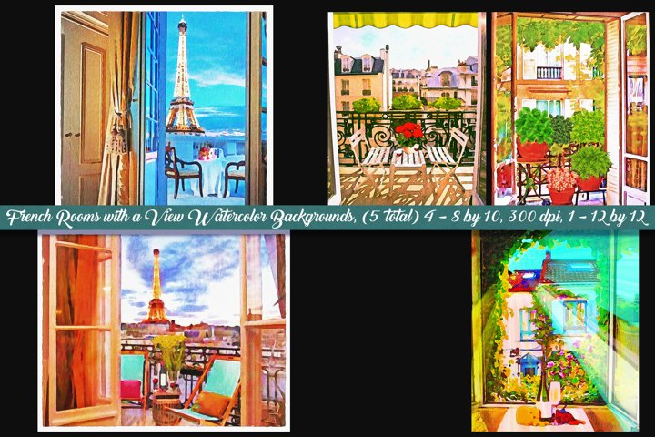 Paris Room with a View Watercolor Backgrounds