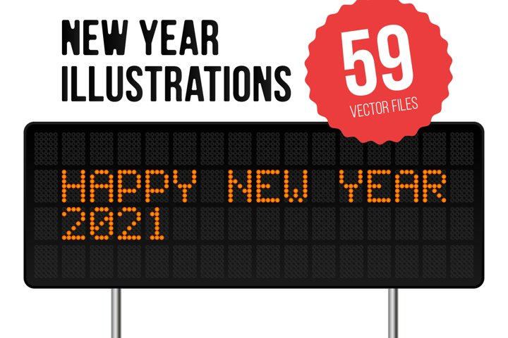 Set of 59 New Year Illustrations