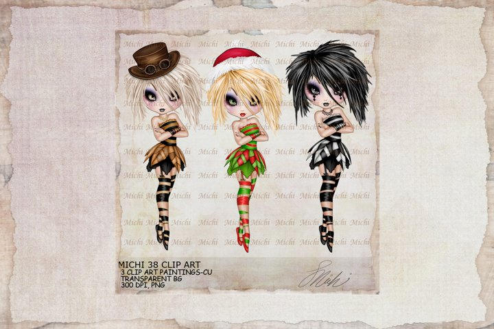 Michi 38 Christmas, Santa, Steampunk, Harlequin Clip Art