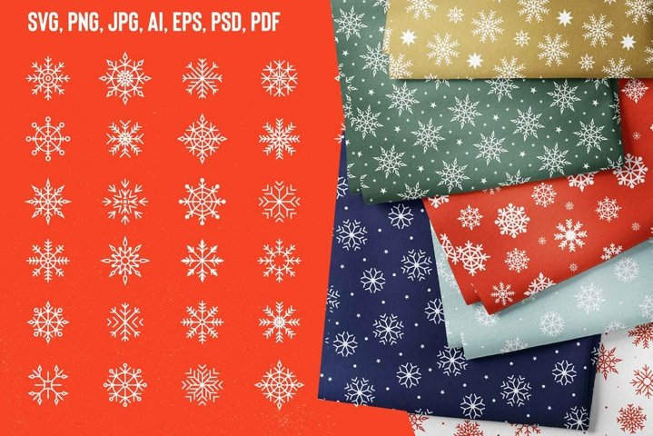 Snowflakes SVG, Snowflakes patterns, Christmas digital paper