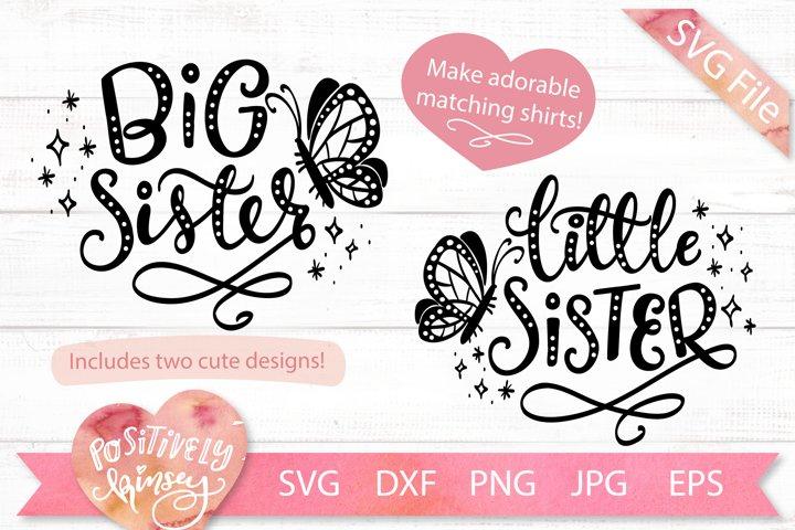 Sisters SVG Set, Big Sister, Little Sister, Matching Designs