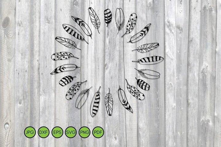 Feathers wreath SVG. Hand drawn frame. Boho Circle border