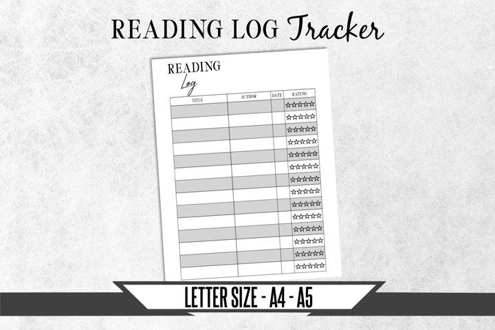 Reading Log Journal Printable Planner Page