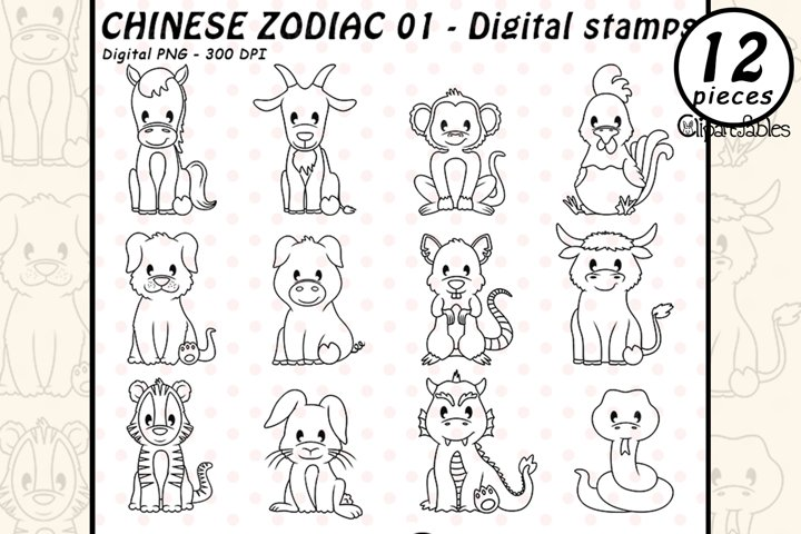 CHINESE ZODIAC - DIGITAL STAMPS, Horoscope, Chinese New Year