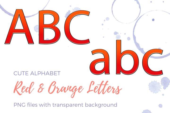 Decorative Alphabet, Red and Orange Typography