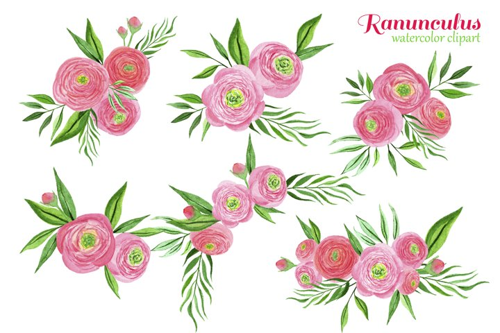 Watercolor pink ranunculus bouquets example 3