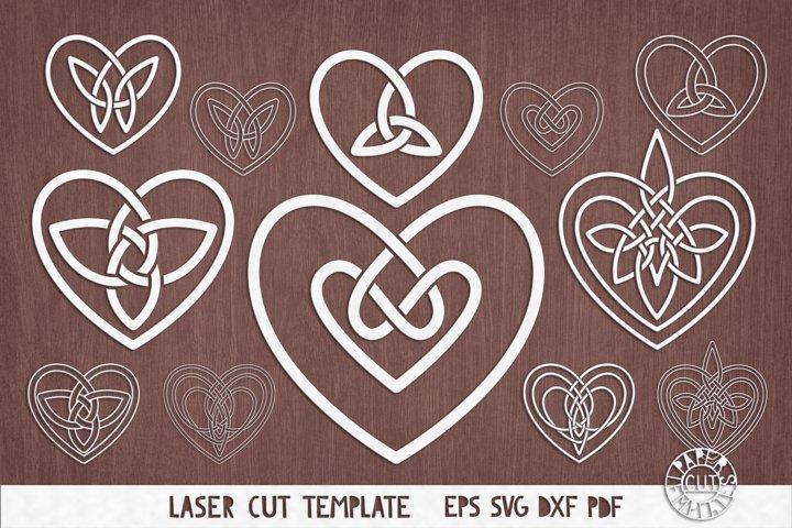 SVG Celtic hearts knot for paper,laser, plotter cutting.