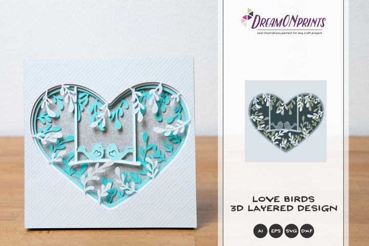 Love Birds 3D Layered Design  Love Birds Shadow Box SVG