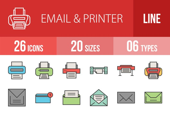 26 Email & Printer Filled Line Icons Season II
