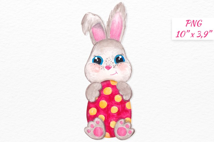 Watercolor Easter bunny clipart Cute little Bunny with egg