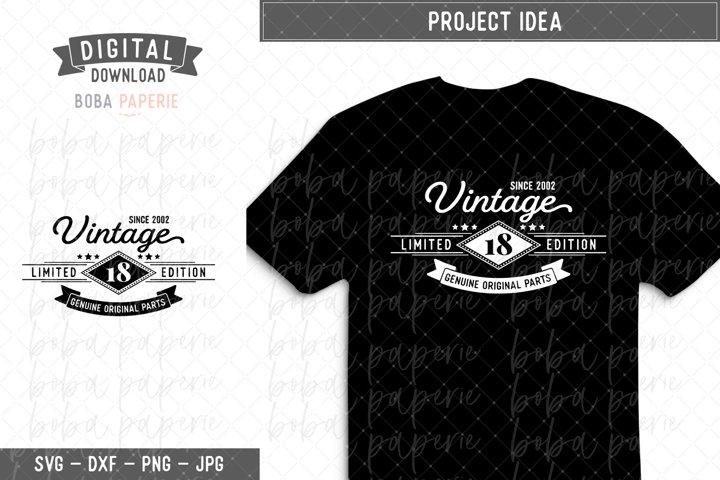 Vintage Since 2002 18th Birthday SVG