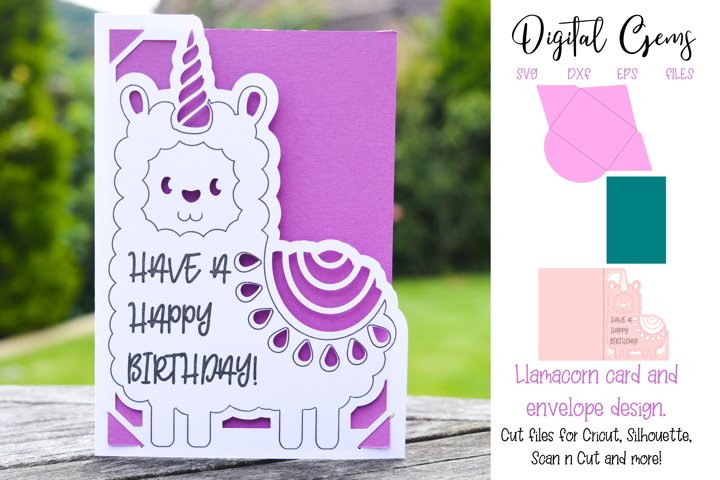 Llamacorn, llama card & envelope design SVG / DXF / EPS file