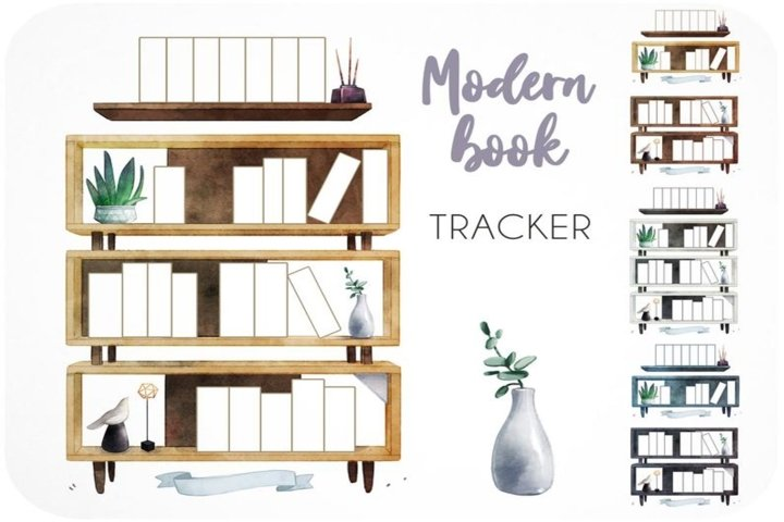 15 Book tracker printables Reading log modern bookshelf