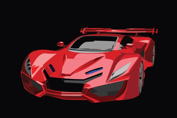 Sports Red Car Vector Illustration