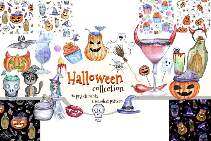 Watercolor Halloween clipart.Happy Halloween.Digital paper.