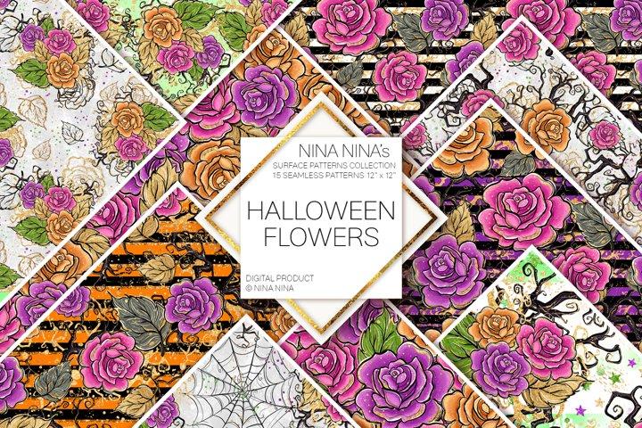Halloween Flowers Seamless Patterns, Roses Digital Papers