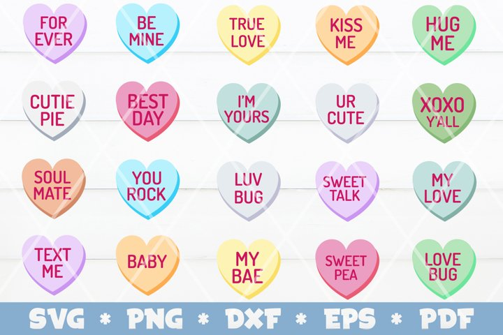 Valentines Conversational Hearts SVG Bundle, Valentines SVG