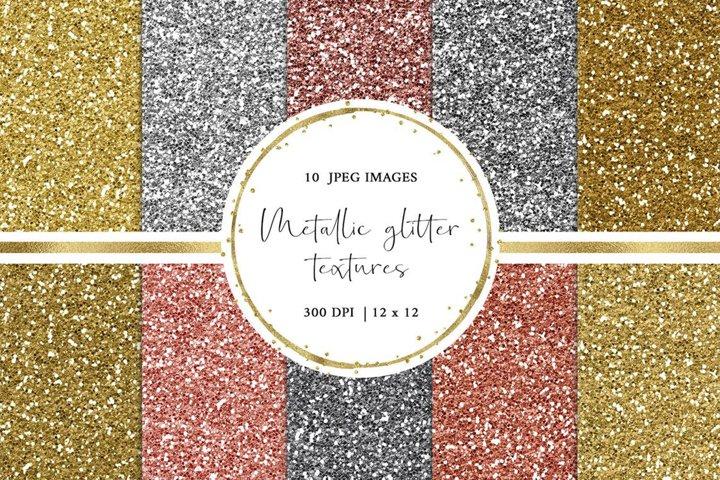 Metallic Glitter Digital Paper in Gold, Silver and Rose Gold