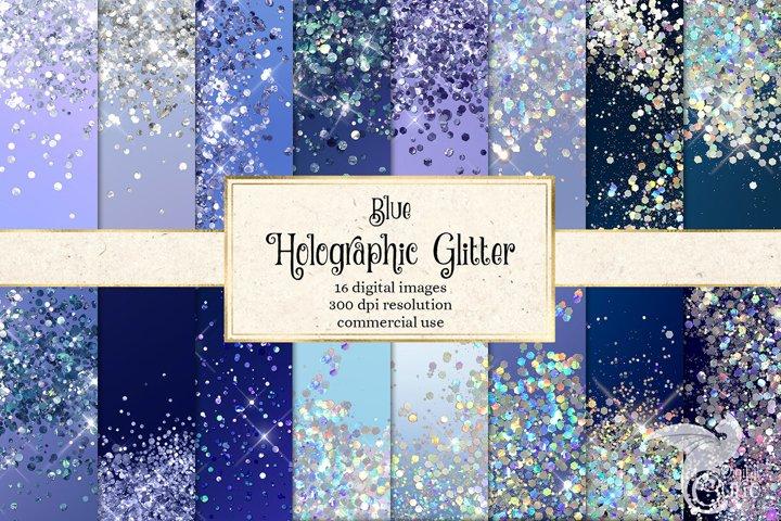 Blue Holographic Glitter Digital Paper