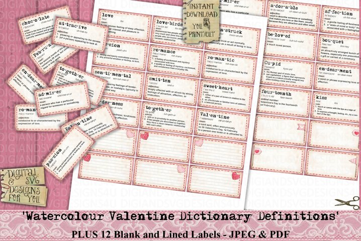 Valentine | Dictionary | Definitions | Watercolor | Labels