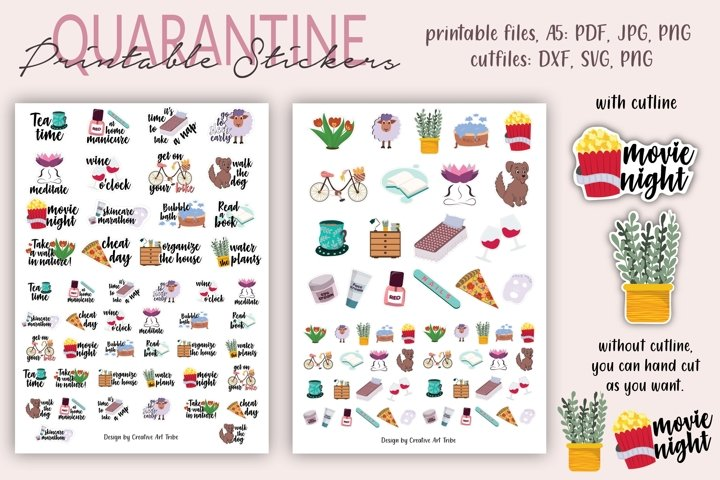 Quarantine Stickers, Stickers Set, Planner Stickers, cutfile