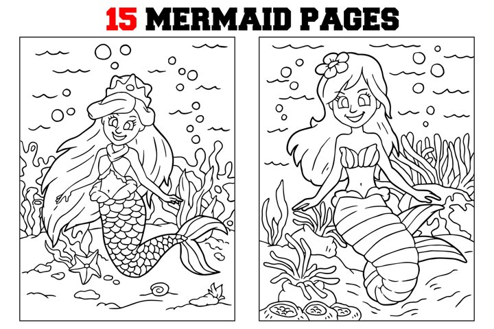 Coloring Pages For Kids - 15 Mermaid Coloring Pages