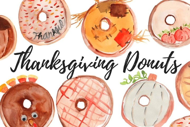Watercolor food thanksgiving donut clipart